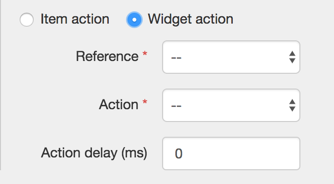 Selecting a Widget action